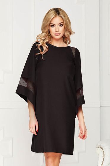 Rochie StarShinerS neagra midi de ocazie din stofa elastica cu croi tip balon cu insertii de voal si captusita pe interior