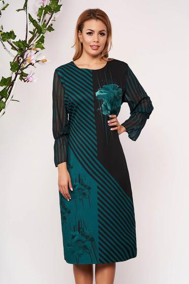 Rochie verde petrol eleganta midi tip creion din stofa si voal fara captuseala cu maneci trei-sferturi