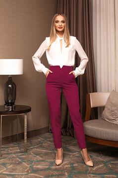 Pantaloni PrettyGirl fuchsia eleganti office din stofa cu talie inalta si croi cambrat