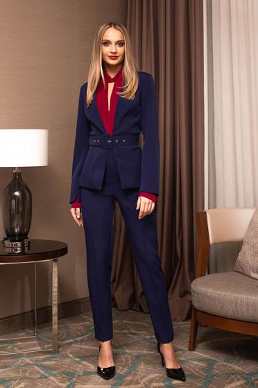 Pantaloni PrettyGirl albastru-inchis eleganti office din stofa cu talie inalta si croi cambrat