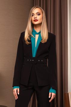 Sacou PrettyGirl negru elegant scurt tip blazer cu un croi cambrat cu maneci lungi accesorizat cu o centura