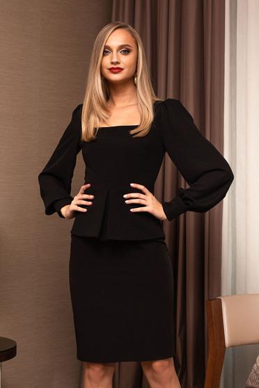 Bluza dama PrettyGirl neagra office cu maneci lungi bufante si peplum