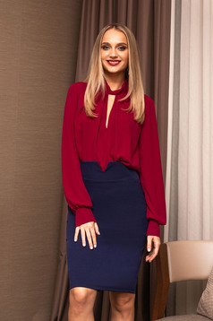 Raspberry women`s blouse office cut-out bust design short cut from veil fabric flared