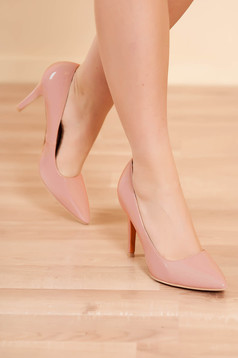 Shoes lightpink elegant from ecological leather lacquer fabric with high heels slightly pointed toe tip