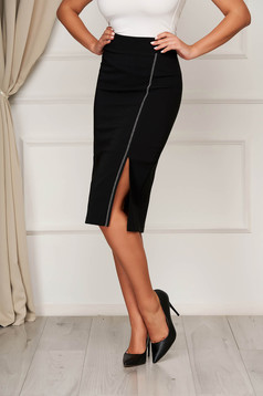 Black skirt elegant midi pencil cloth slit with inside lining
