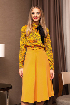 Mustard skirt elegant midi cloche cloth with bow with inside lining