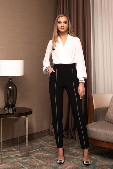 Pantaloni PrettyGirl negri eleganti conici din stofa usor elastica cu aplicatii cu pietre strass