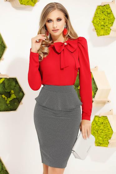 Bluza dama Fofy rosie office eleganta cu un croi mulat cu maneci lungi si fundita