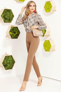 Pantaloni Fofy cappuccino eleganti conici din stofa cu talie inalta si buzunare