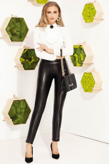 Pantaloni Fofy negri eleganti conici cu un croi mulat din piele ecologica cu talie inalta