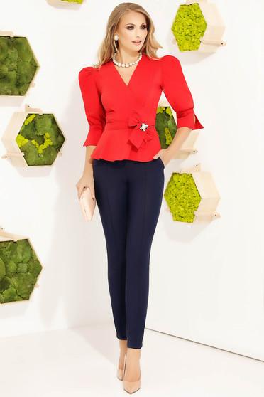 Camasa dama Fofy rosie office mulata din bumbac cu maneci bufante si accesorizata cu brosa