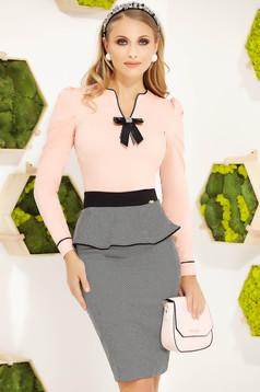 Camasa dama Fofy piersica office mulata din bumbac cu maneci lungi accesorizata cu o fundita