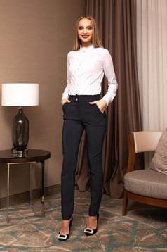 Pantaloni PrettyGirl albastru-inchis eleganti din stofa cu talie inalta cu buzunare si imprimeu cu buline