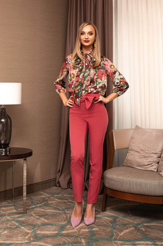 Trousers coral office high waisted tied with bow