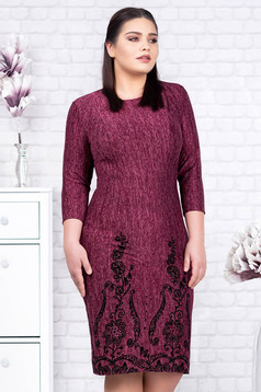 Burgundy dress elegant midi pencil knitted velvet insertions with floral details
