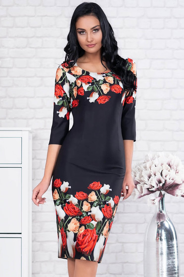 Rochie neagra eleganta midi tip creion din stofa cu maneci trei-sferturi si imprimeu floral