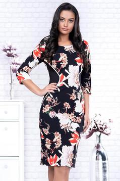 Rochie neagra eleganta tip creion din stofa cu maneci trei-sferturi si imprimeuri florale