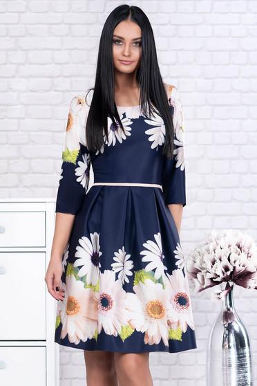 Rochie albastru-inchis eleganta scurta din stofa cu accesoriu tip curea si maneci trei-sferturi