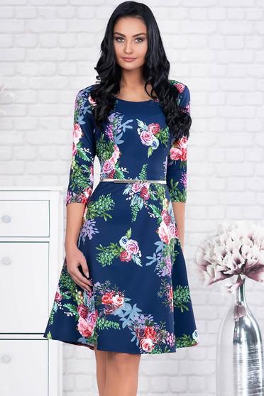 Rochie albastru-inchis eleganta midi din stofa cu accesoriu tip curea si imprimeu floral