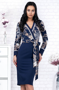 Darkblue dress elegant midi pencil cloth accessorized with tied waistband long sleeved