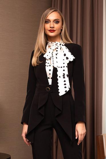 Sacou PrettyGirl negru elegant cambrat din stofa cu accesoriu tip curea