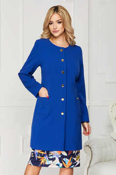 Trench albastru elegant din stofa cu un croi drept cu buzunare si inchidere cu nasturi