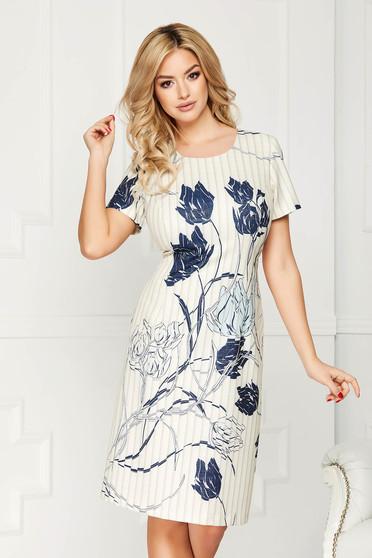 Rochie albastra office eleganta midi din stofa cu un croi drept si maneci scurte