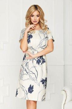 Rochie piersica office eleganta midi din stofa cu un croi drept si maneci scurte