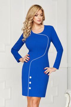 Rochie albastra scurta eleganta tip creion din stofa accesorizata cu nasturi