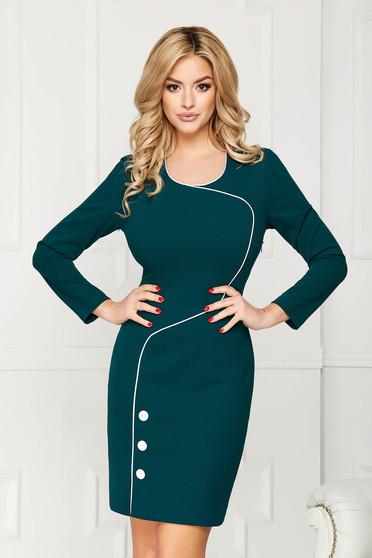 Rochie verde petrol scurta eleganta tip creion din stofa accesorizata cu nasturi