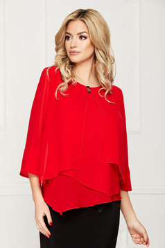 Red office asymmetrical flared women`s blouse short cut from veil fabric with metal accessories