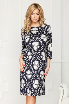 Darkblue dress elegant midi pencil cotton long sleeve