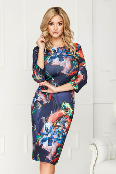 Rochie corai eleganta midi tip creion din bumbac cu maneca lunga si imprimeuri florale