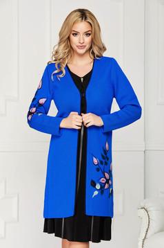 Cardigan albastru elegant din lana cu un croi drept cu maneci lungi