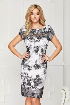 Silver dress elegant midi pencil cloth short sleeves with graphic details