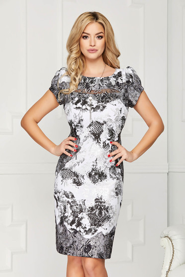 Rochie argintie eleganta midi tip creion din stofa cu maneci scurte si imprimeuri grafice