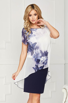 White dress elegant voile overlay straight midi with floral print