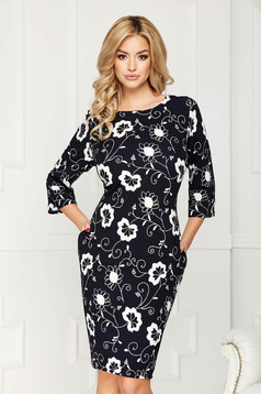 Black dress elegant midi pencil with floral prints with 3/4 sleeves