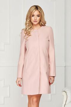 Trench roz prafuit elegant scurt din lana cu un croi drept si buzunare