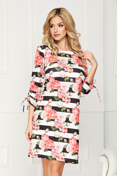 Coral dress elegant short cut a-line cloth with stripes with floral print