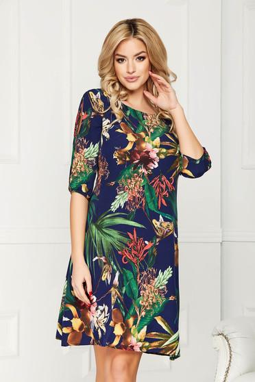Rochie albastru-inchis din voal cu imprimeu floral cu croi in a cu maneci trei-sferturi