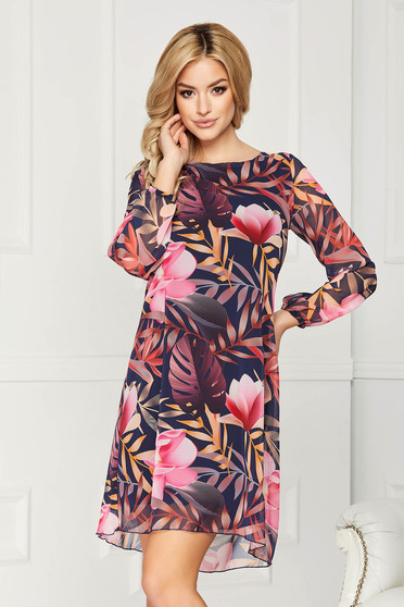 Rochie roz eleganta din voal cu imprimeu floral cu croi in a si cu maneci lungi