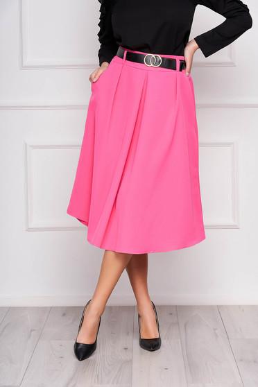 Fusta SunShine roz office midi in clos cu pliuri de material cu accesoriu tip curea si buzunare