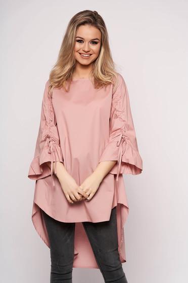 Rochie roz prafuit SunShine casual asimetrica cu croi in a din bumbac cu maneca 3/4
