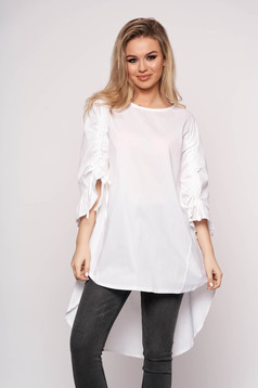 White dress casual asymmetrical a-line cotton 3/4 sleeve