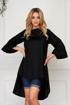 Black women`s shirt casual asymmetrical a-line cotton 3/4 sleeve