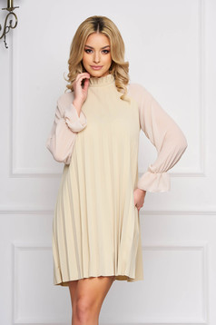 Cream dress elegant short cut from veil fabric a-line long sleeved