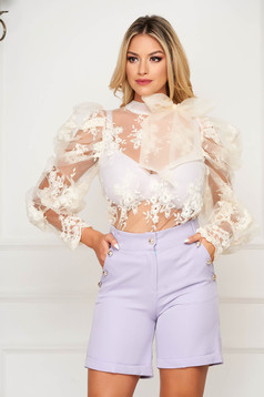 Cream women`s blouse occasional short cut flared from tulle with lace details with puffed sleeves