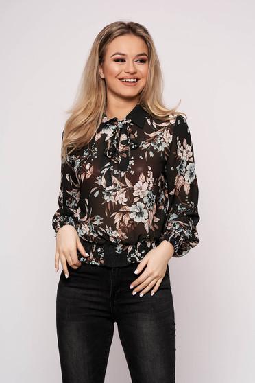Bluza dama SunShine neagra casual cu maneca lunga cu croi larg scurta din voal cu imprimeu floral
