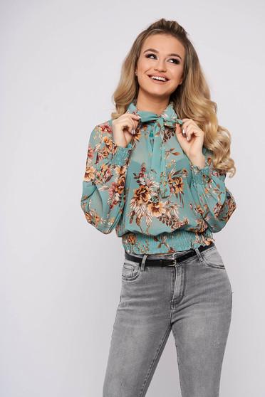 Bluza dama SunShine turcoaz casual cu maneca lunga cu croi larg scurta din voal cu imprimeu floral